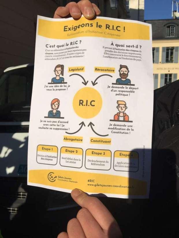"""Una de las demandas de los """"chalecos amarillos"""" es el establecimiento de un referéndum de iniciativa ciudadana (RIC)."""