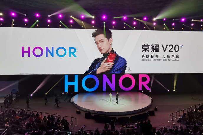 Bei der Einführung des Honor-V20-Smartphones von Honor in Peking am 26. Dezember 2018.