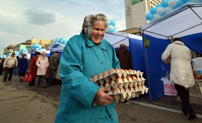 On a market in Stavropol, in the south of Russia, in December 2014.