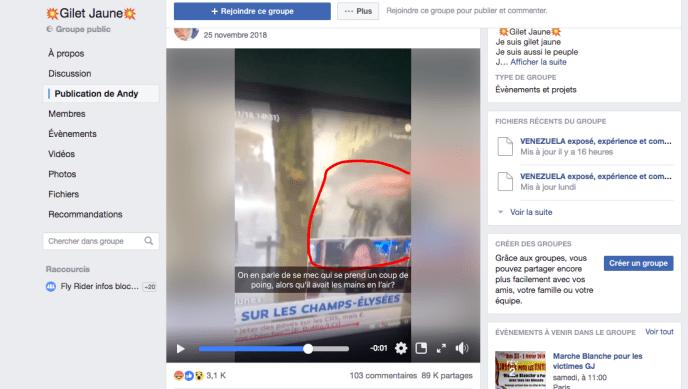 89 000 « gilets jaunes » partagent la vidéo montrant un « gilet jaune » frappé semble-t-il par surprise par un CRS.