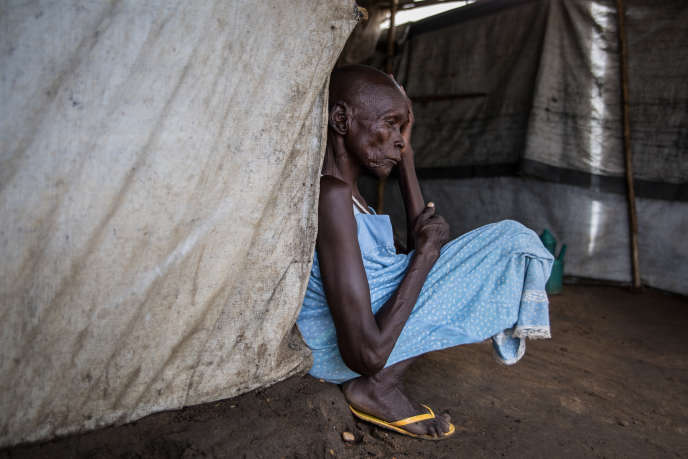 A woman suffering from spinal tuberculosis in the Mahad IDP camp, South Sudan, in April 2018.