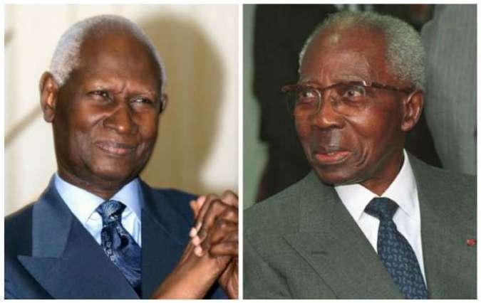 De gauche à droite : Abdou Diouf, président du Sénégal de 1981 à 2000, etLéopold Sédar Senghor, chef de l'Etat de 1960 à 1980.