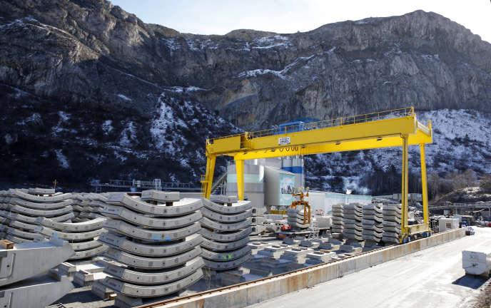 Sur le chantier du tunnel Lyon-Turin, à Saint-Martin-de-la-Porte en Savoie, le 12 février 2019.