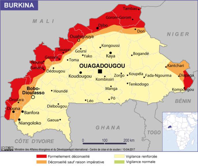 La carte d'évaluation des risques au Burkina Faso datant du 10 avril 2017, établie par le ministère des affaires étrangères français.