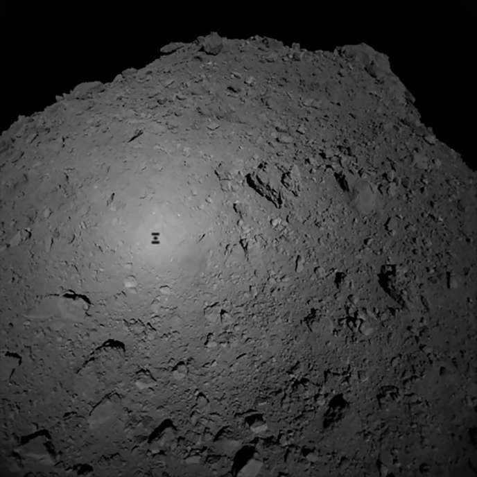 The shadow of the Hayabusa-2 probe on the surface of the Ryugu asteroid.