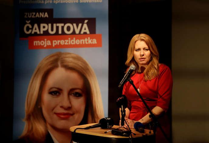 La candidate à l'élection présidentielleZuzana Caputova au soir du premier tour, le 16 mars à Bratislava, en Slovaquie.