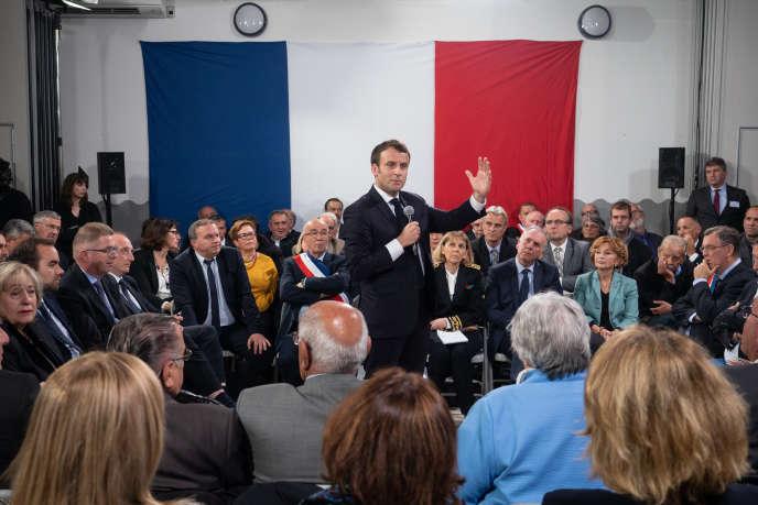 Emmanuel Macron during his last big debate in Cozzano (Corse-du-Sud), April 4th.