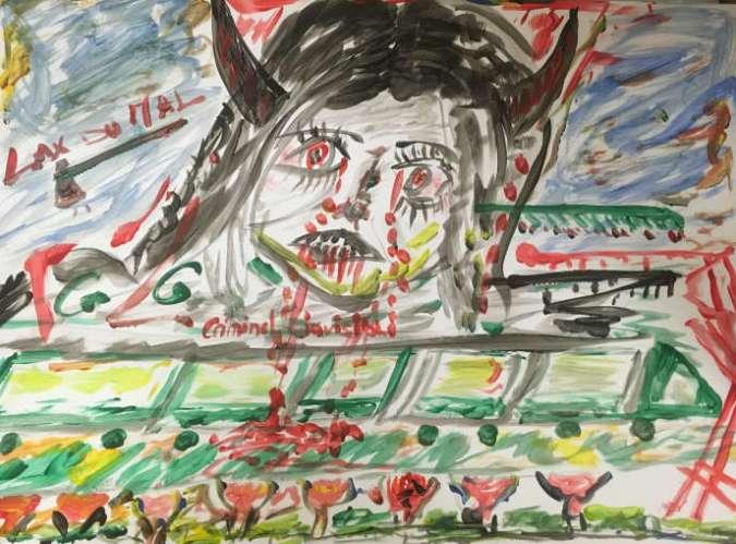 Dessin de Yam, 52ans, réalisé dans l'atelier de peinture sensorielle sur le psychotraumatisme,à l'hôpital intercommunal Robert-Ballanger, à Aulnay-Sous-Bois (Seine-Saint-Denis).