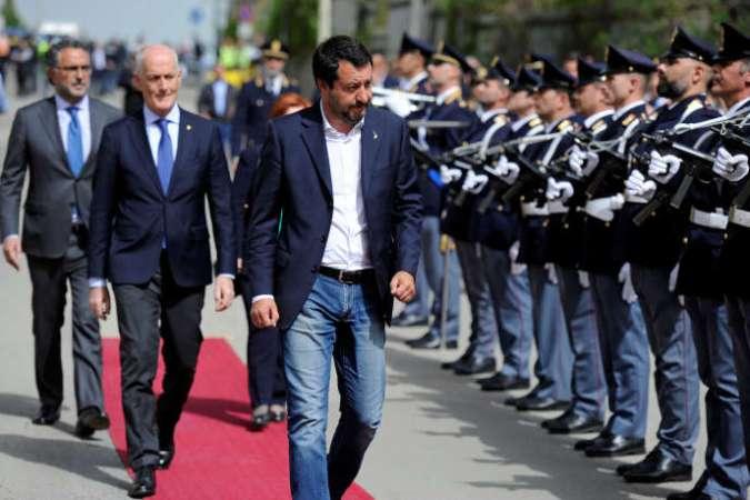Le ministre italien de l'intérieur,Matteo Salvini, àCorleone en Sicile, le 25 avril.