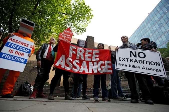 Manifestation à Londres en soutien à Julian Assange, le 1er mai.