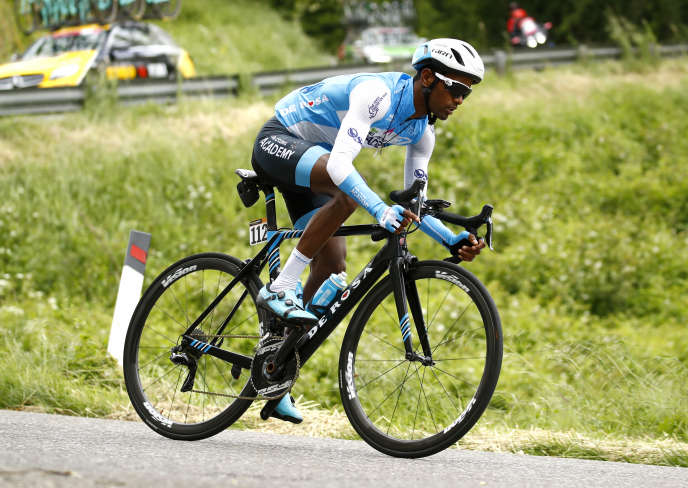 Eritrean cyclist Awet Andemeskel rides for the Israel Cycling Academy team at the Giro 2019 on 14 May.