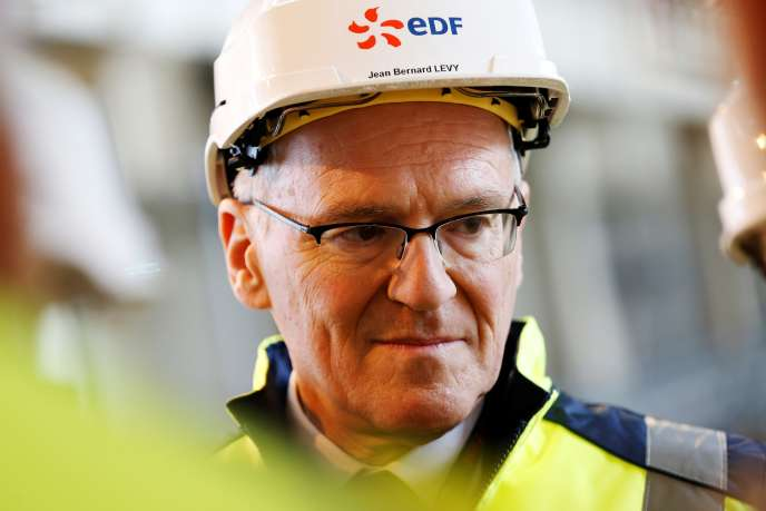 EDF CEO Jean-Bernard Lévy visits the EPR Flamanville (Manche) site in February 2018.