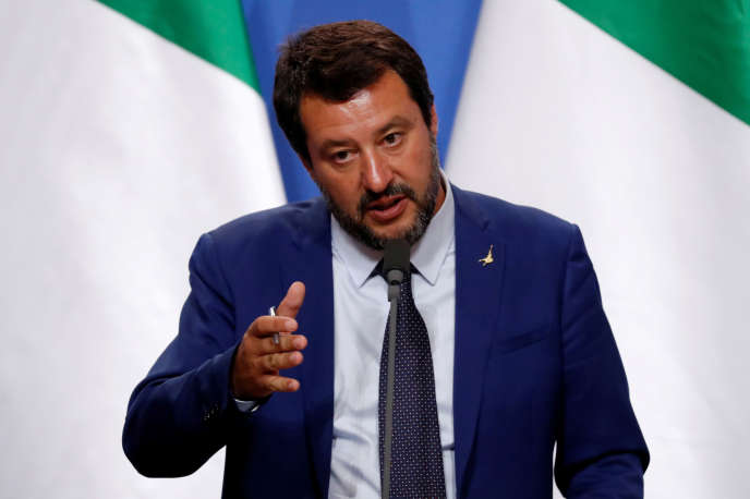 Italian Minister of the Interior Matteo Salvini speaks at a conference with Hungarian Prime Minister Viktor Orban on 2 May 2019 in Budapest.