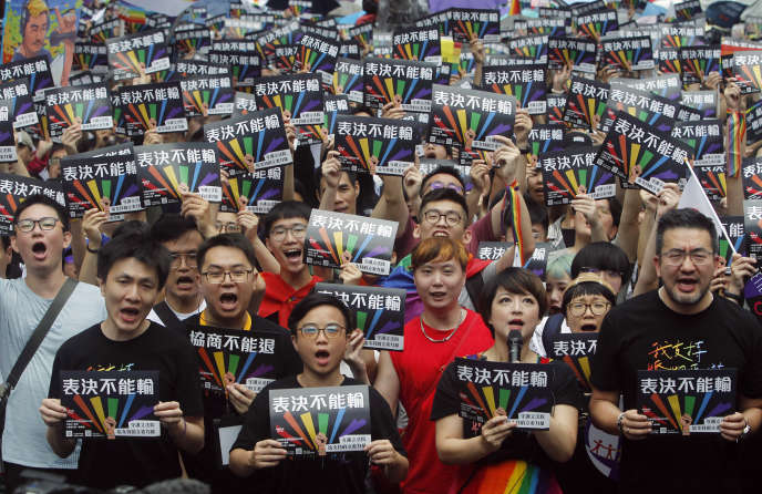 Supporters of same-sex marriage in Taiwan, May 17.