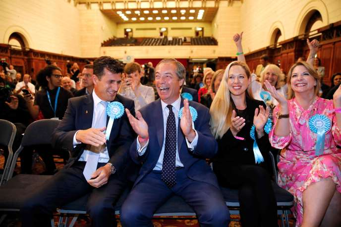 The leader of the Brexit Party reacted to the announcement of the European election results on May 26 in Southampton (England).