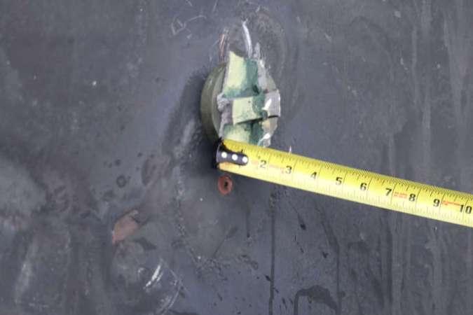 Cet objet circulaire aurait servi d'aimant pour une mine non explosée, selon le Pentagone qui a fourni de nouvelles photos le 17 juin, après l'attaque de deux navires en mer d'Oman le 13 juin.