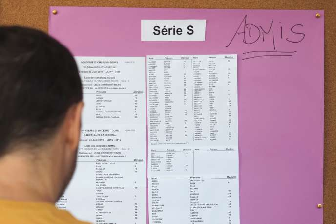 A high school student looks at the results of the vat 2019 in Tours on July 5th.