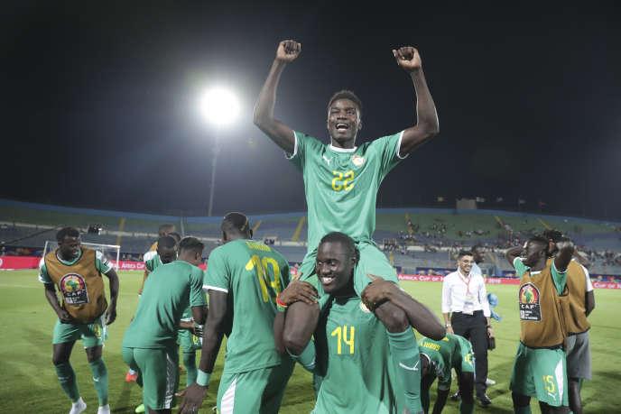 Les joueurs sénégalais après le match contre la Tunisie, au Caire, Egypte, le 14 juillet 2019.