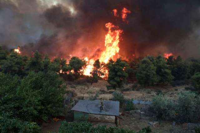 A villager from Makrimalli village tries to contain the fire on the island of Euboea in Greece on August 13th.
