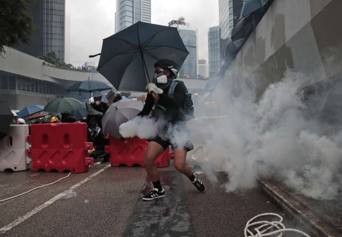 A protester in central Hong Kong, Saturday, August 31.