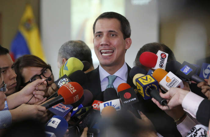 Venezuela's opposition leader Juan Guaido addresses the press at the National Assembly headquarters in Caracas, Venezuela, on Tuesday, September 3, 2019.