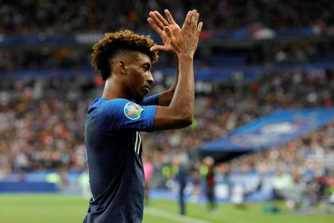 Kingsley Coman during the match against Albania.
