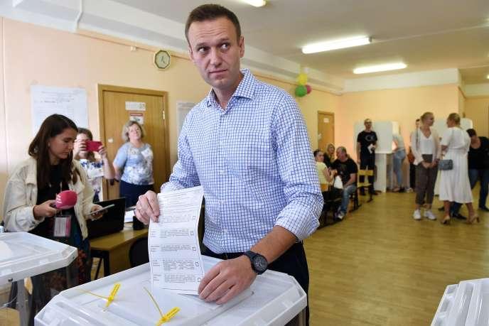 Le chef de l'opposition russe Alexei Navalny a voté à Moscou le 8 septembre.