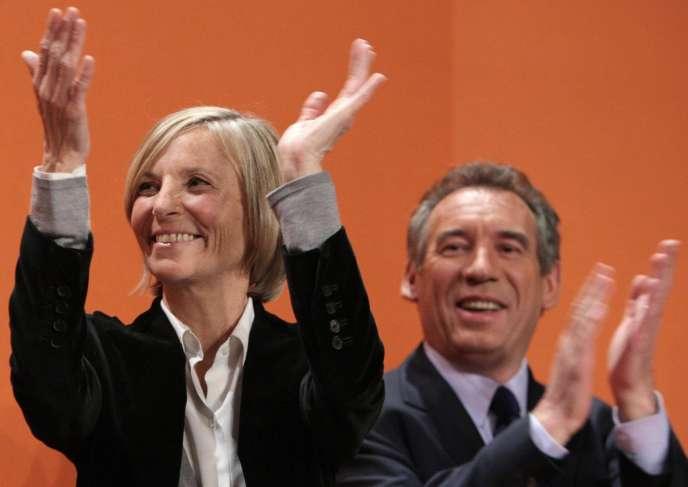 Marielle de Sarnez et François Bayrou lors d'une réunion publique, le 4 mars 2008, à la Mutualité, à Paris.