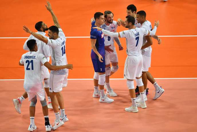 French players celebrate their victory on Monday, September 16th, in Montpellier.