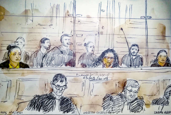 This judicial sketch made on September 23, 2019 at the Paris law courts shows (from left to right) Ines Madani, Ornella Gilligmann and Sarah Hervouët during the trial of the failed attack near Notre-Dame.