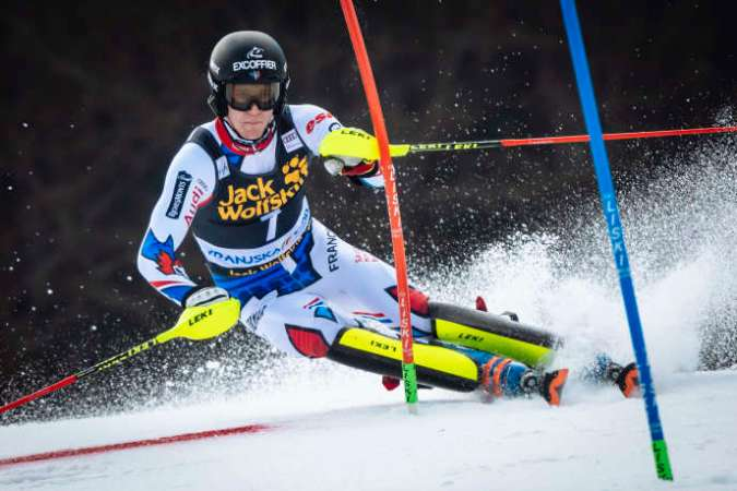 Clément Noël, lors de la première manche du slalom de Kranjska Gora (Slovénie), le 10 mars 2019.