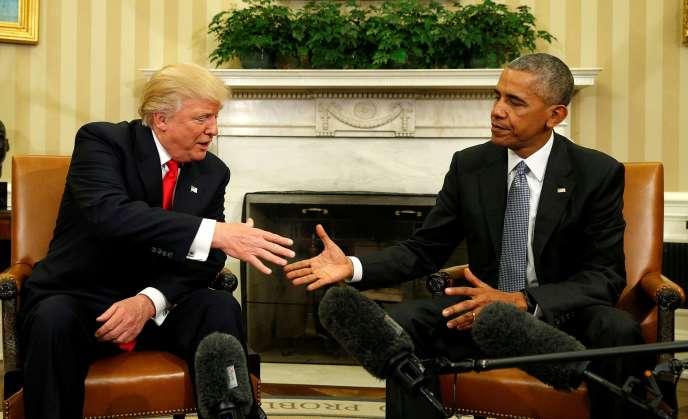 Le président élu Donald Trump rencontre le président Barack Obama, le 16 novembre 2016, à la Maison Blanche.