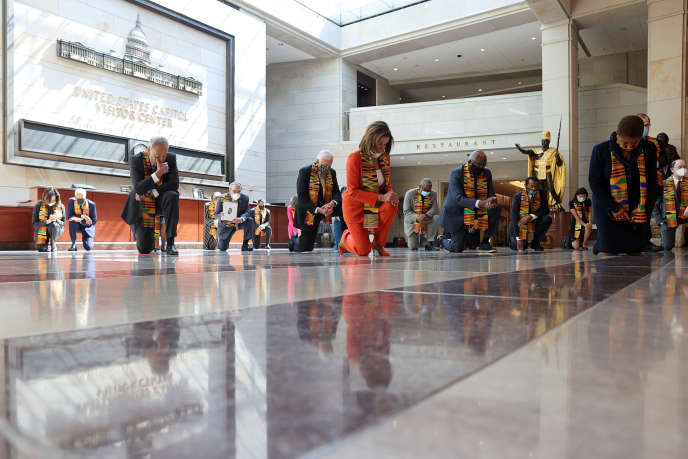 Democrats knelt in memory of George Floyd, Breonna Taylor and Ahmaud Arbery on Capitol Hill in Washington on June 8.