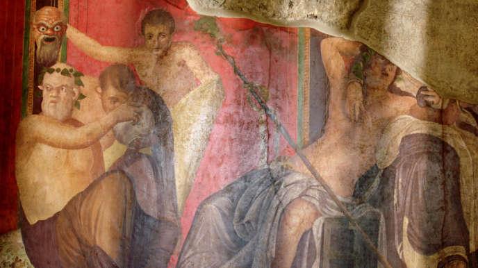 Un muro affresco della Villa dei Misteri, Pompei.