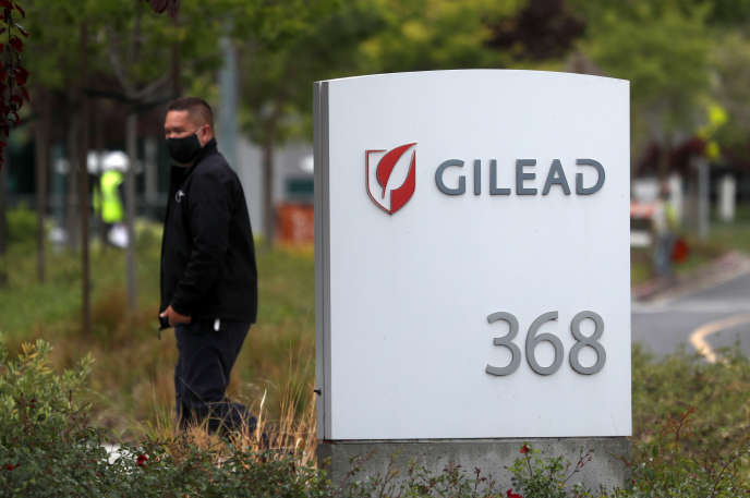At the entrance to Gilead's headquarters in Foster City, California on April 29.