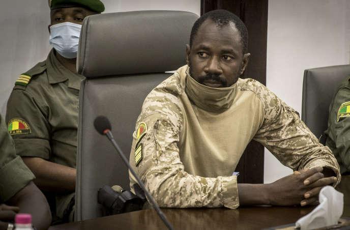 Le colonel Assimi Goïta, président du Comité national pour le salut du peuple (CNSP), à Bamako, le 22 août.