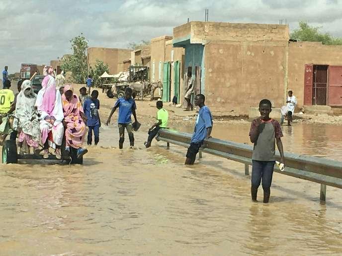 Inondations dans la région de l'Assaba, dans le sud de la Mauritanie, début septembre 2020.