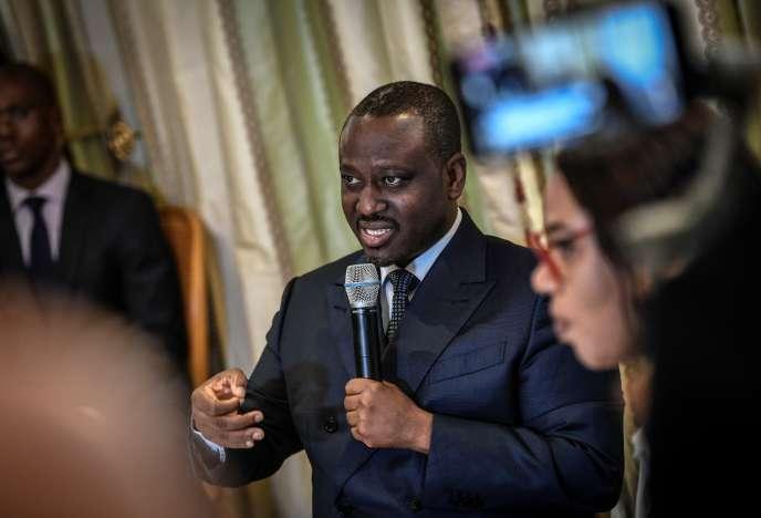 L'ancien président du Parlement ivoirien Guillaume Soro lors de sa conférence de presse le 17 septembre 2020, dans un grand hôtel de Paris.
