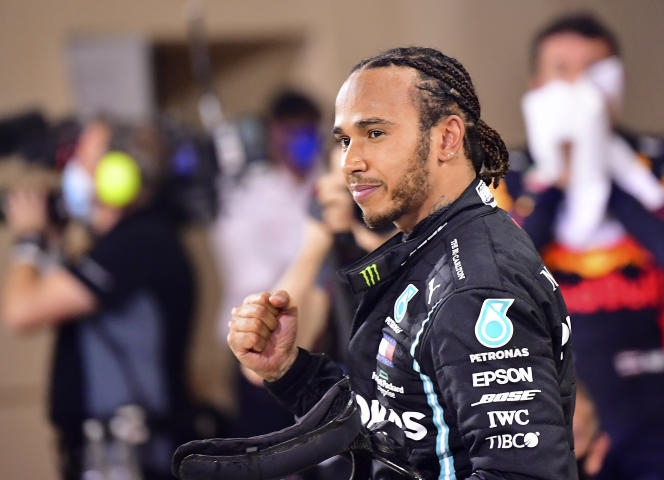 Lewis Hamilton after his victory at the Bahrain Grand Prix, in Sakhir, on November 29, 2020.