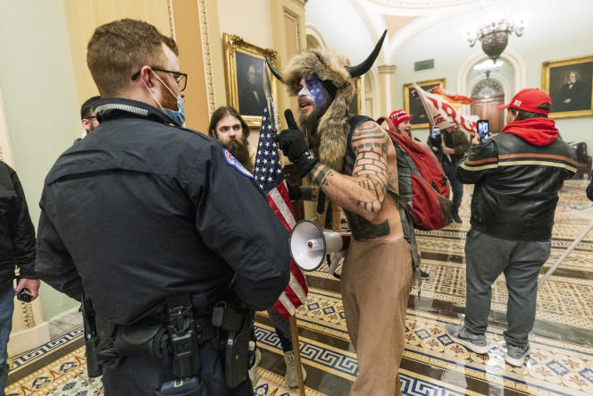 Jacob Chansley, during the assault on the Capitol, Wednesday, January 6, in Washington.