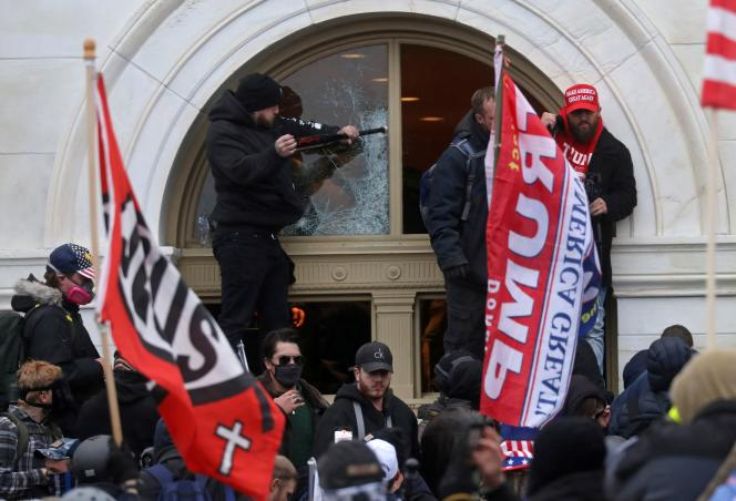 Supporters of President Donald Trump storm the Capitol in Washington on January 6.
