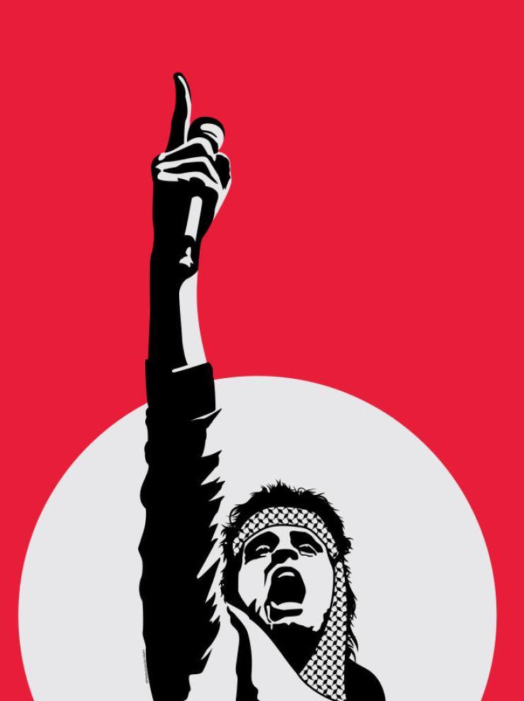 Affiche représentant Abdel Basset Sarout, footballeur syrien devenu en 2012 un chef rebelle de la guerre civile. Icône de la révolution, il a été tué à Idlib en juin 2019.