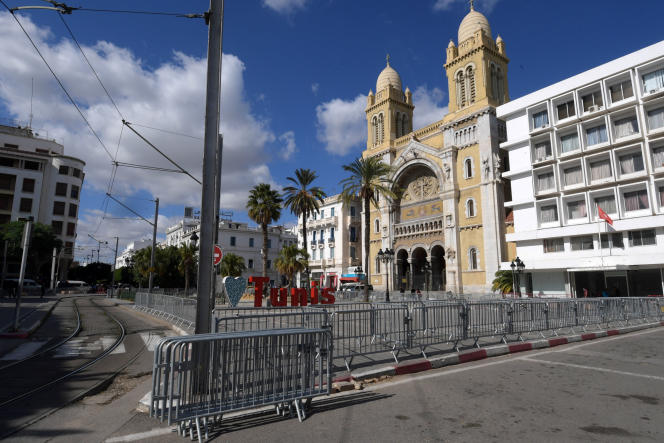 The deserted outskirts of Saint-Vincent-de-Paul cathedral in central Tunis, October 29, 2020.