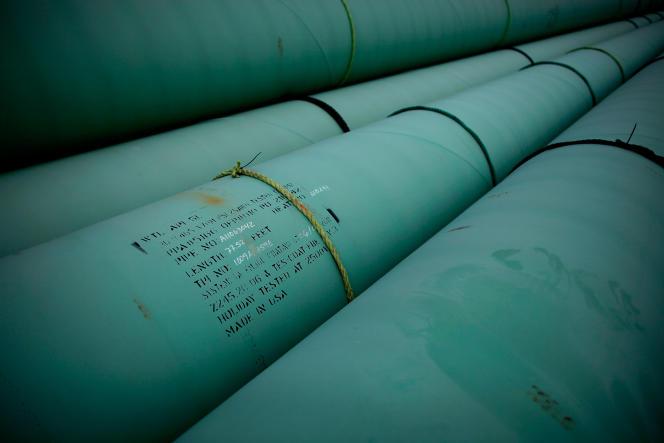 Un tuyau sur le site sud du pipeline Keystone XL, le 22 mars 2012, à Cushing, dans l'Oklahoma (Etats-Unis).