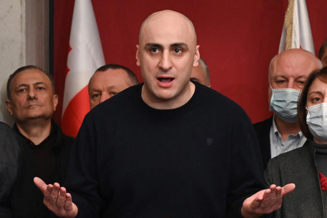 Nika Melia, the head of the United National Movement, speaking to supporters in Tbilisi on February 17, 2021.