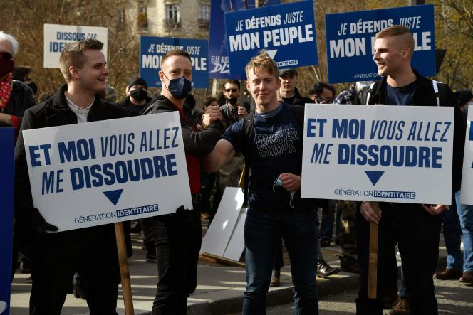 Members of the far-right group Generation Identity demonstrate in Paris on February 20 against its dissolution then promised by the Minister of the Interior, Gerald Darmanin.