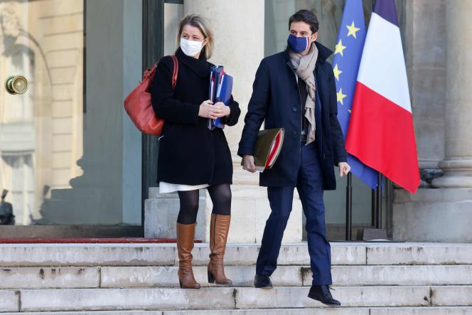 The Minister for the Ecological Transition, Barbara Pompili, and the government spokesperson, Gabriel Attal, at the Elysee Palace in Paris, on February 10.