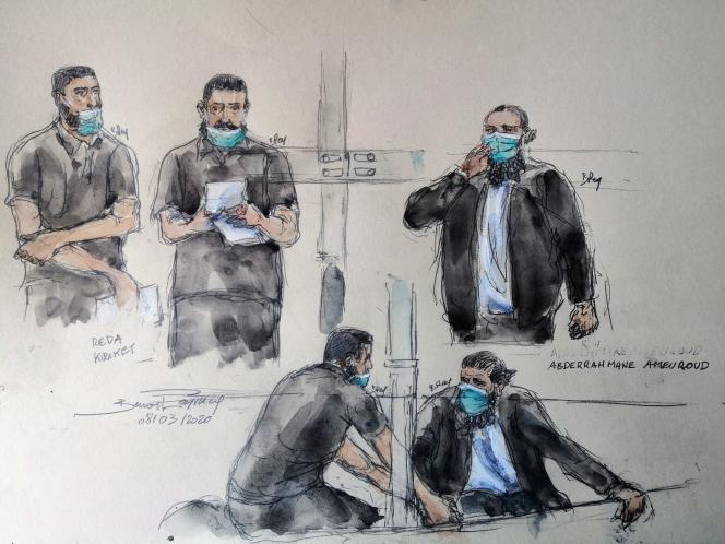 Sketch showing the defendants Reda Kriket (2nd from left and center) and Abderrahmane Ameuroud (top and bottom right), at their trial, in Paris, on March 8.