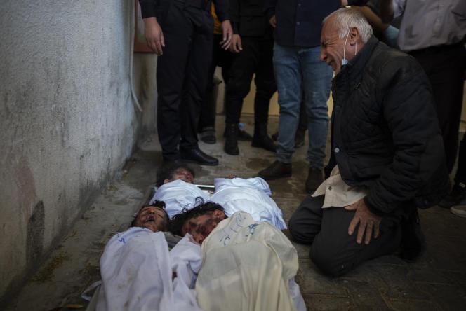 Les corps des enfants de la familleAl-Tanani, le 14 mai àBeit Lahya, dans le nord de la bande de Gaza.