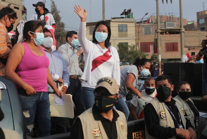 La candidate de droite à la présidentielle péruvienne, Keiko Fujimori, qui affrontera l'opposant socialiste Pedro Castillo lors du second tour, le 6 juin, à Lima, au Pérou, le 20 mai 2021.